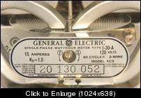 GE I30A watthour meter 120v 15amps 1.5kh plate clo