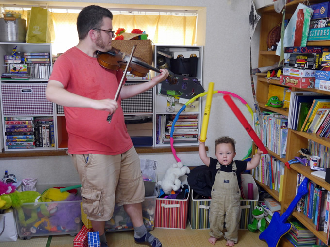 Oliver made some music with his dad.